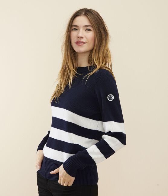 Pull marin laine Femme bleu Smoking / blanc Marshmallow