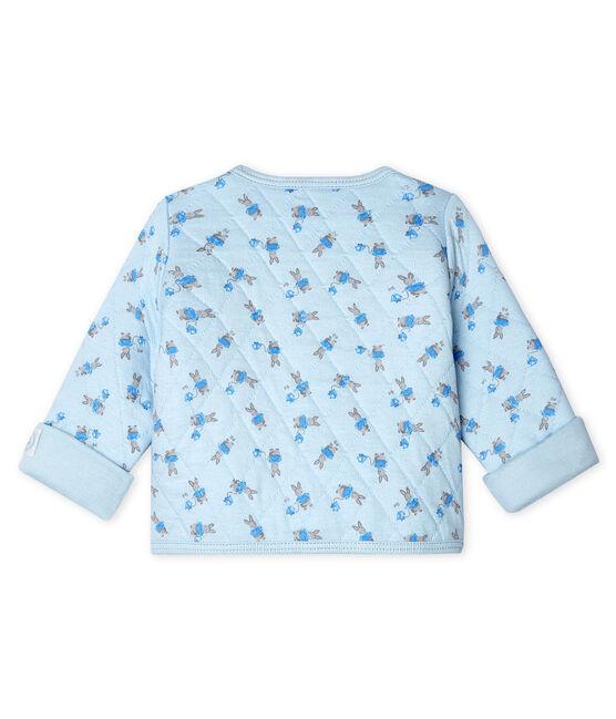 Cardigan bébé en tubique matelassé bleu Fraicheur / blanc Multico