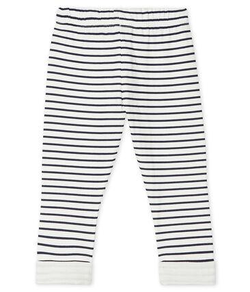 Pantalon bébé garçon en tubique imprimé blanc Marshmallow / bleu Smoking