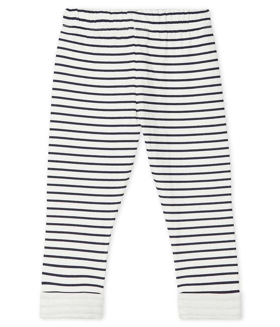 Pantalon bébé en tubique imprimé blanc Marshmallow / bleu Smoking