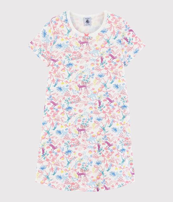 Chemise de nuit imprimé jungle petite fille en coton blanc Marshmallow / blanc Multico