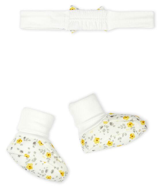 Lot bandeau et chaussons bébé fille en laine et coton lot .