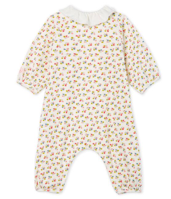 Combinaison longue bébé fille en côte blanc Marshmallow / blanc Multico