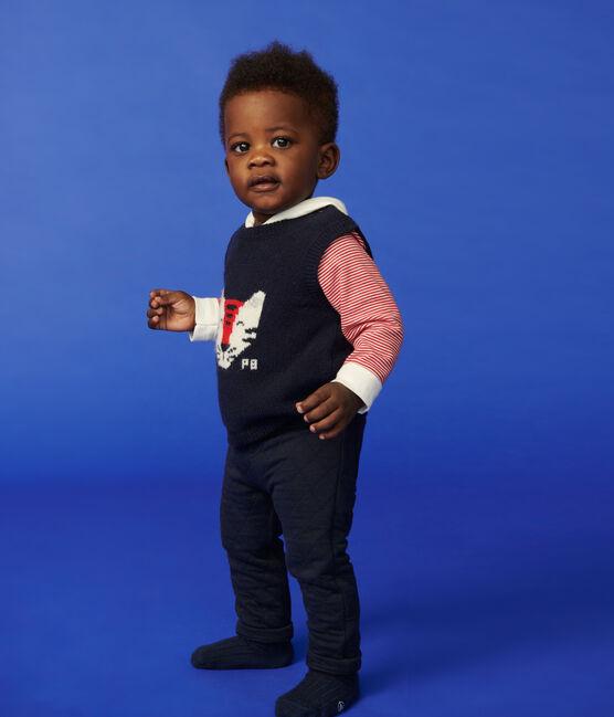 Pull bébé sans manches en tricot bleu Smoking