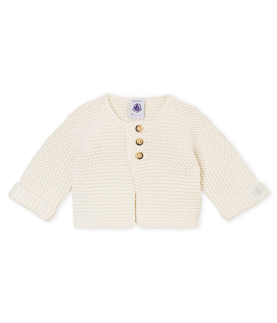 Cardigan point mousse bébé mixte blanc Marshmallow