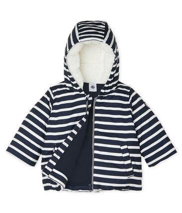 Doudoune bébé garçon rayée bleu Smoking / blanc Marshmallow
