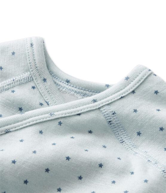 Body naissance bébé garçon manches longues laine et coton bleu Fraicheur / gris Tempete