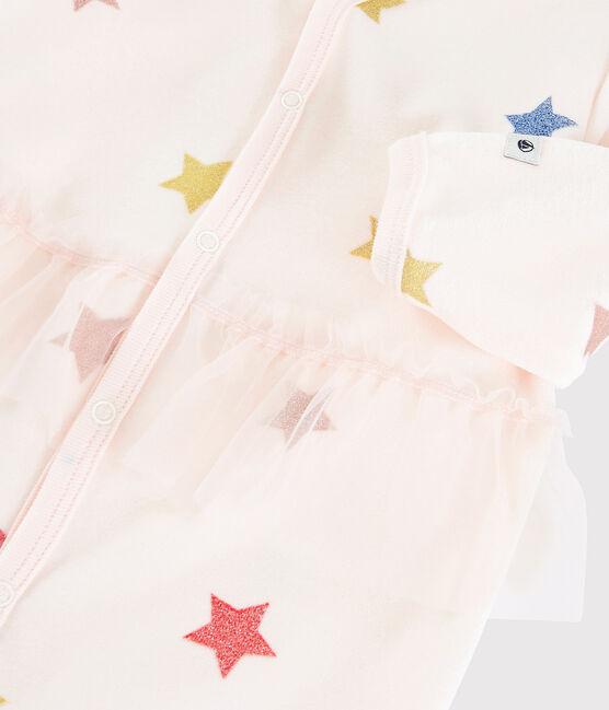 Dors-bien à étoiles bébé fille en velours rose Fleur / blanc Multico