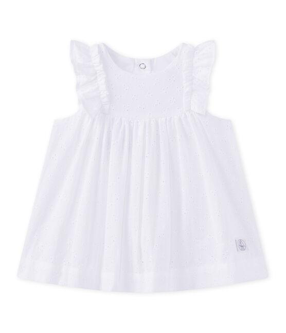Robe bébé fille en broderie anglaise blanc Ecume