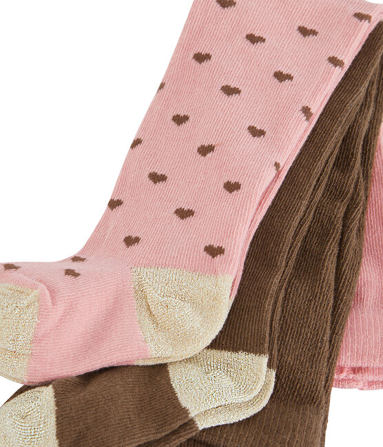 Lot de 2 paires de collants bébé fille rose Charme / blanc Multico