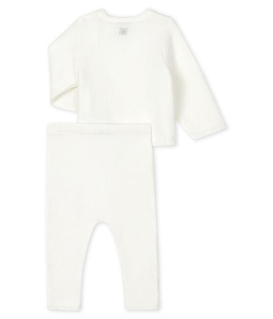Ensemble deux pièces blanc bébé en tricot blanc Marshmallow