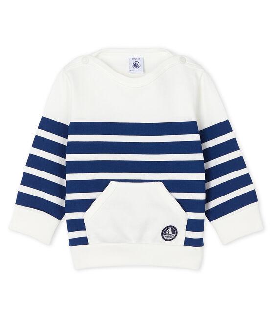 Sweatshirt bébé garçon rayé blanc Marshmallow / bleu Medieval