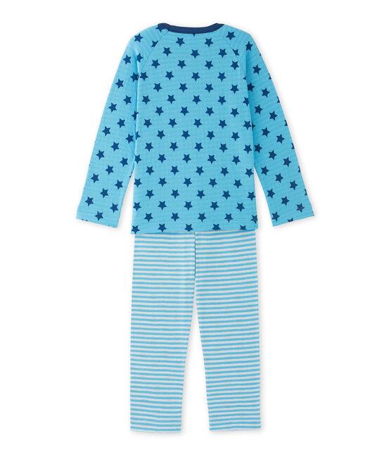 Pyjama garçon en tubique imprimé / rayé bleu Ibiza / bleu Major