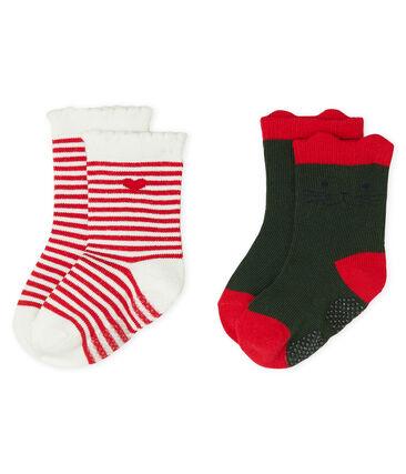 Lot de 2 paires de chaussettes bébé fille vert Sousbois