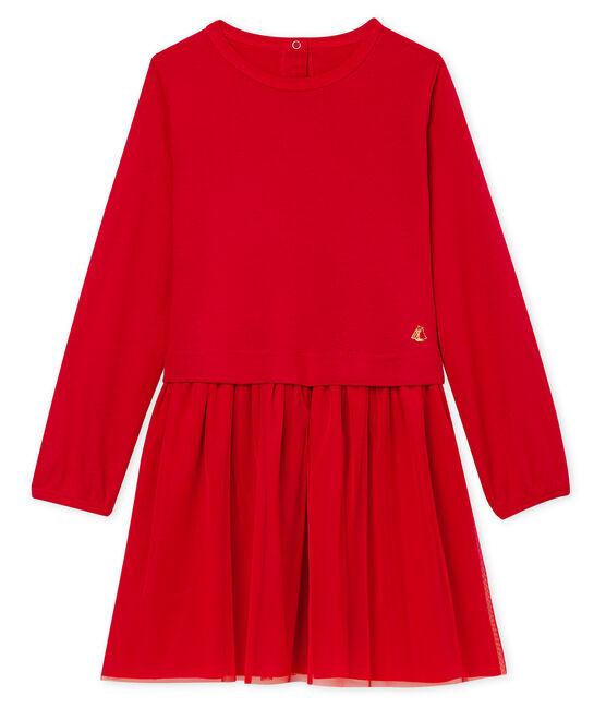 Robe bi-matière enfant fille rouge Terkuit
