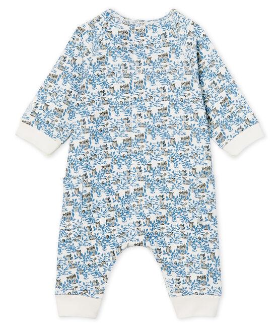 Combinaison longue bébé garçon en côte blanc Marshmallow / blanc Multico
