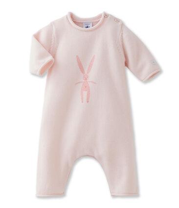 Combinaison longue bébé mixte en tricot laine et coton à lapin rose Fleur