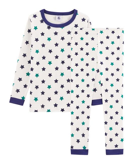 Pyjama petit garçon coupe très ajustée blanc Marshmallow / blanc Multico