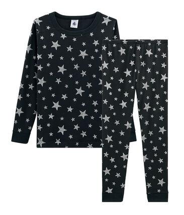 Pyjama petit garçon coupe très ajustée en côte gris Capecod / gris Argent