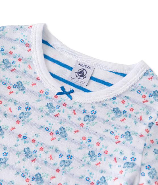 Pyjama fille en tubique réversible blanc Ecume / bleu Bleu