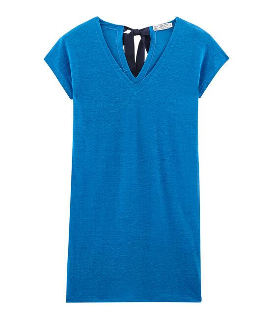 Robe manches courtes femme en lin bleu Riyadh