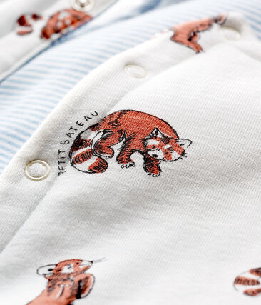 Gilet sans manches réversible bébé garçon en côte ouatinée blanc Marshmallow / blanc Multico