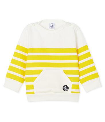 Sweatshirt bébé garçon rayé blanc Marshmallow / jaune Shine