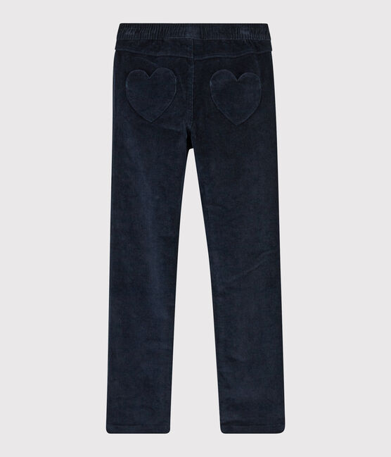 Pantalon velours enfant fille bleu Smoking