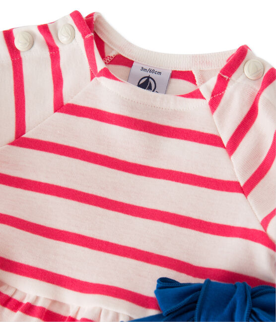 Robe bébé fille rayée blanc Lait / rose Peony