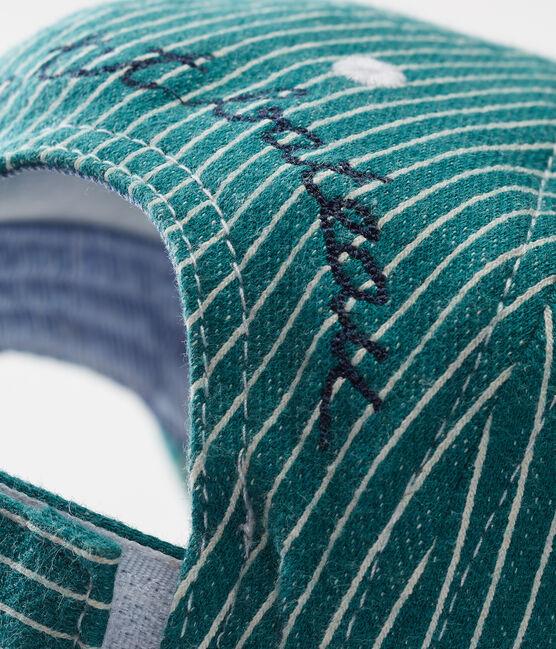 Casquette en maille rayée bébé garçon vert Olivier / blanc Marshmallow
