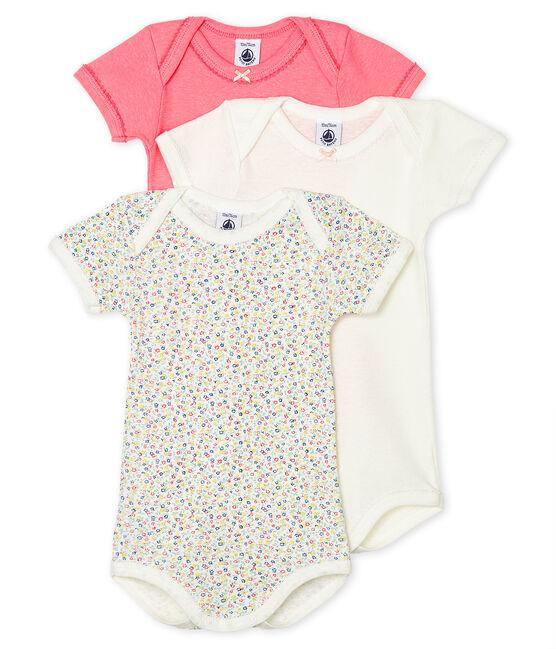 Trio de bodies manches courtes bébé fille en lin/coton lot .
