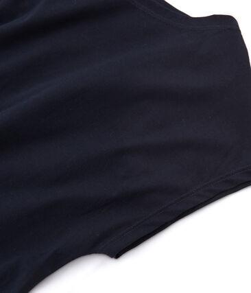 Tee-shirt manches courtes femme en coton sea island bleu Marine