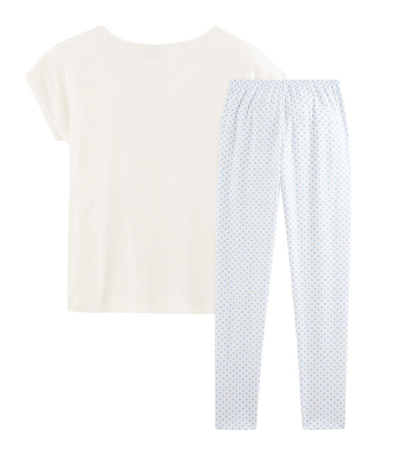 Pyjama fille en côte blanc Marshmallow / bleu Jasmin