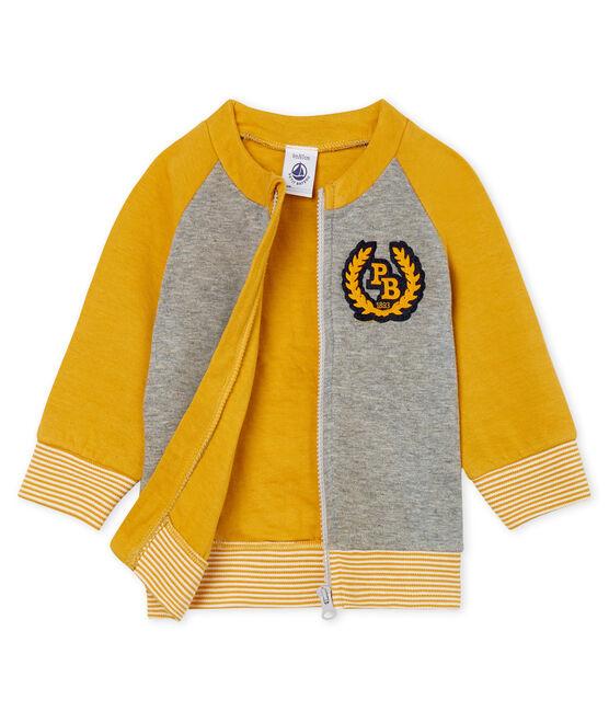 Cardigan zippé bébé garçon en tubique gris Subway / jaune Boudor