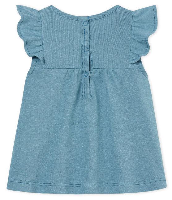 Blouse manches courtes bébé fille en coton/lin bleu Fontaine