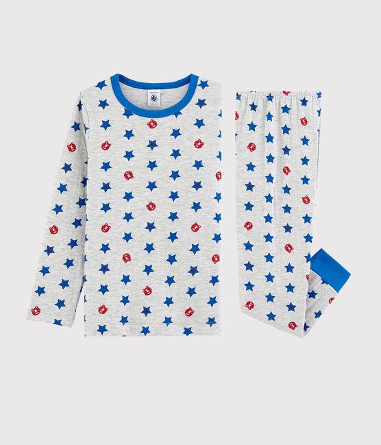 Pyjama gris chiné à étoiles petit garçon en tubique gris Beluga / blanc Multico