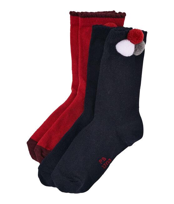 Lot de 2 paires de chaussettes pompon et uni lot .