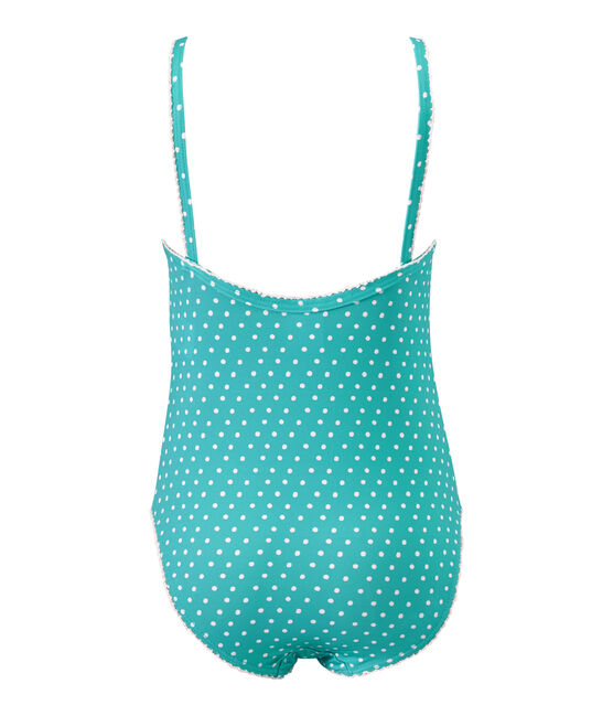 Maillot de bain fille 1 pièce à pois vert Verde / blanc Marshmallow