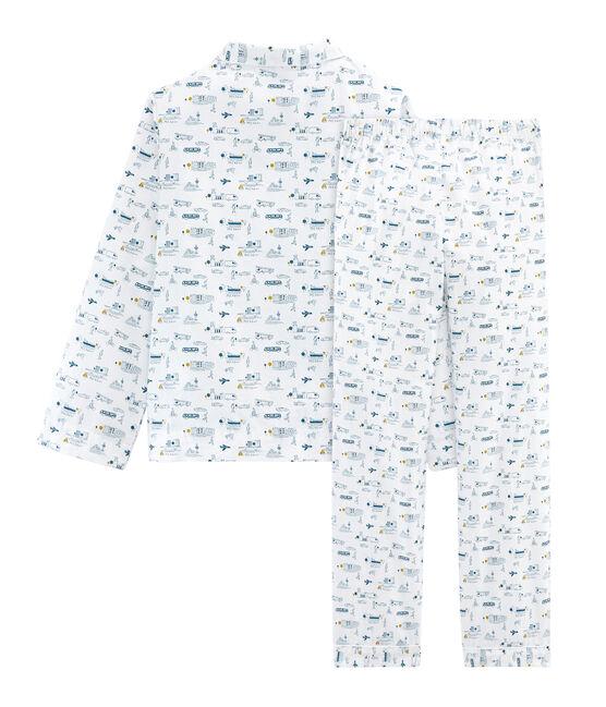 Pyjama petit garçon en toile blanc Marshmallow / bleu Shadow