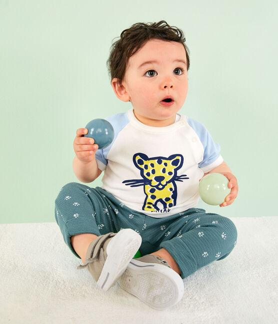 Tee shirt manches courtes bébé garçon blanc Marshmallow / bleu Jasmin