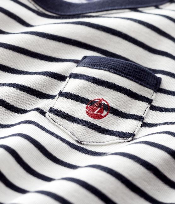 Tee-shirt bébé garçon blanc Marshmallow / bleu Smoking