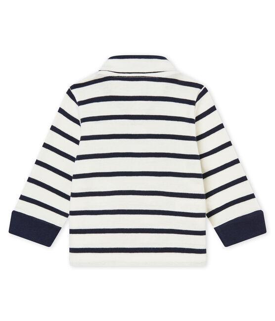 Polo rayure marinière bébé garçon blanc Marshmallow / bleu Smoking