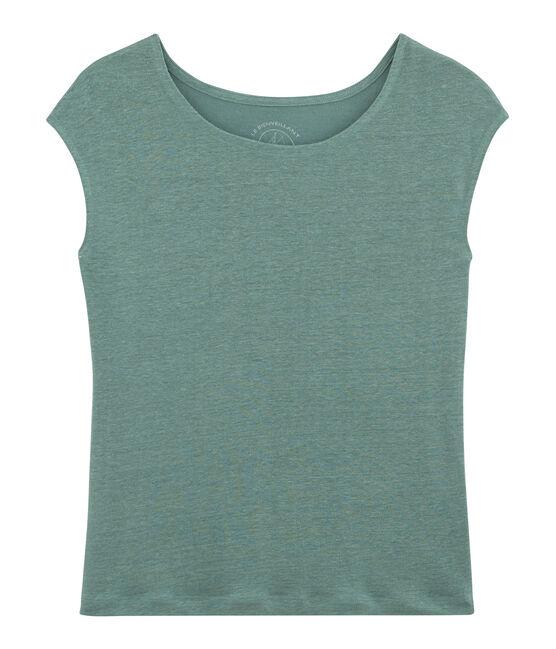 Tee shirt lin femme bleu Brut
