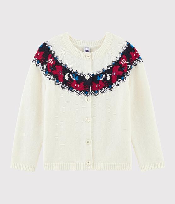 Cardigan laine et coton enfant fille blanc Marshmallow / blanc Multico