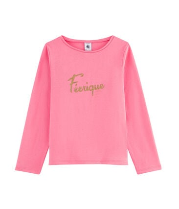 Tee shirt manches longues enfant fille rose Cupcake