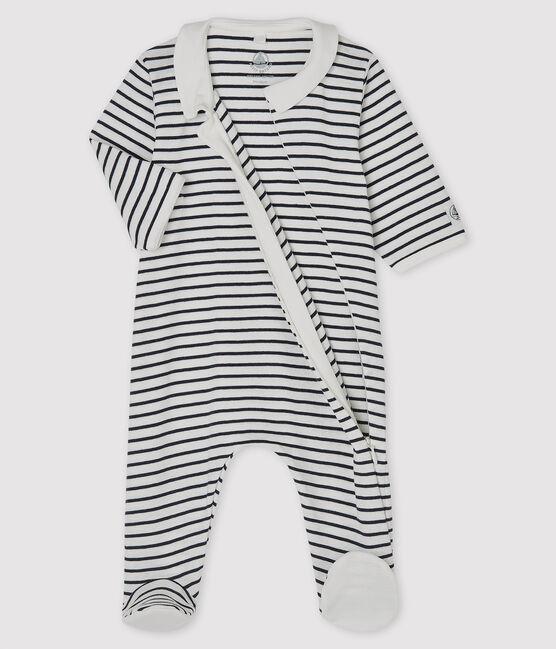 Dors bien zippé bébé en côte blanc Marshmallow / bleu Smoking