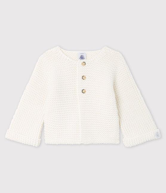 Cardigan laine et coton bébé fille blanc Marshmallow