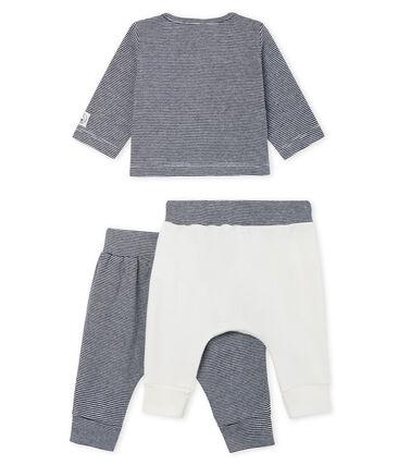 Ensemble trois pièces bébé garçon en côte blanc Marshmallow / bleu Smoking