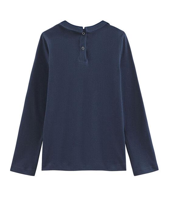 T-shirt fille à col claudine bleu Haddock