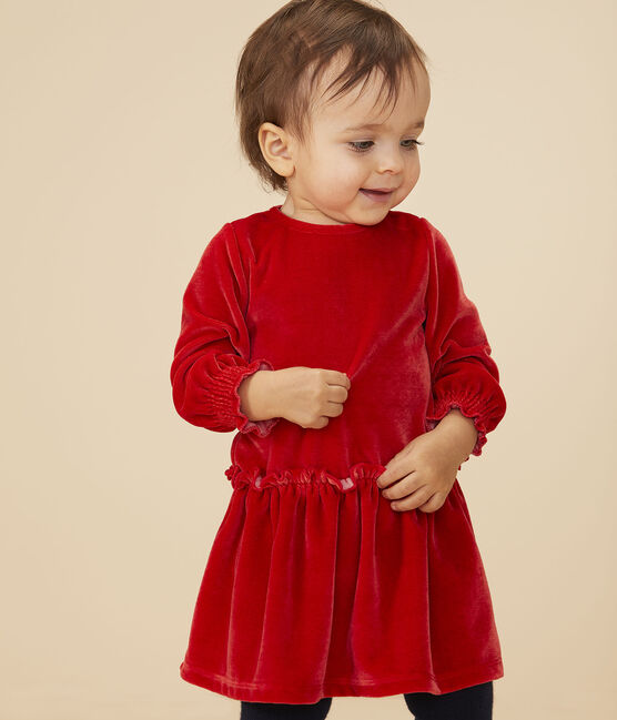 Robe manches longues bébé fille rouge Terkuit